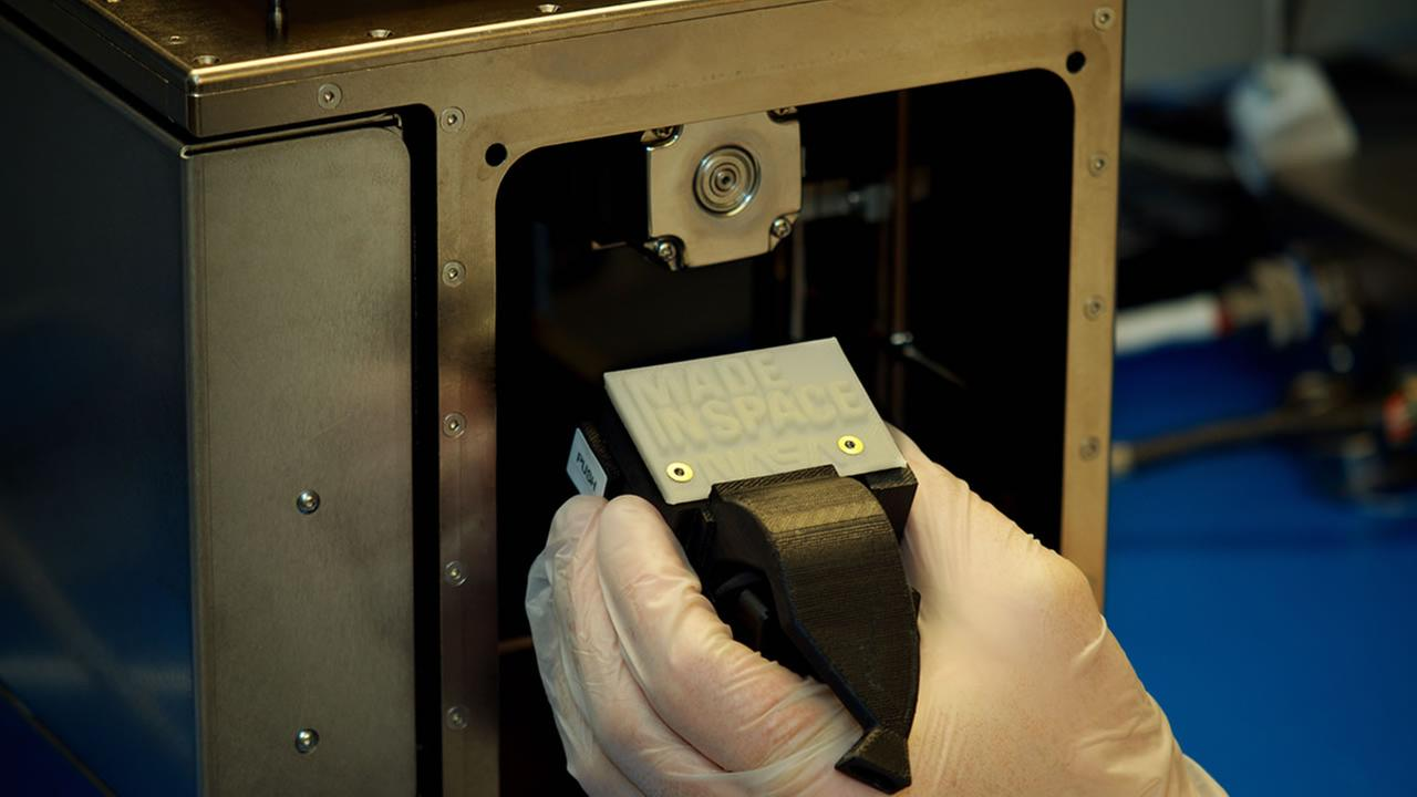 Mountain View company, Made in Space, printed the first 3-D object in space Tuesday -- a faceplate with the logos Made in Space and NASA on it.