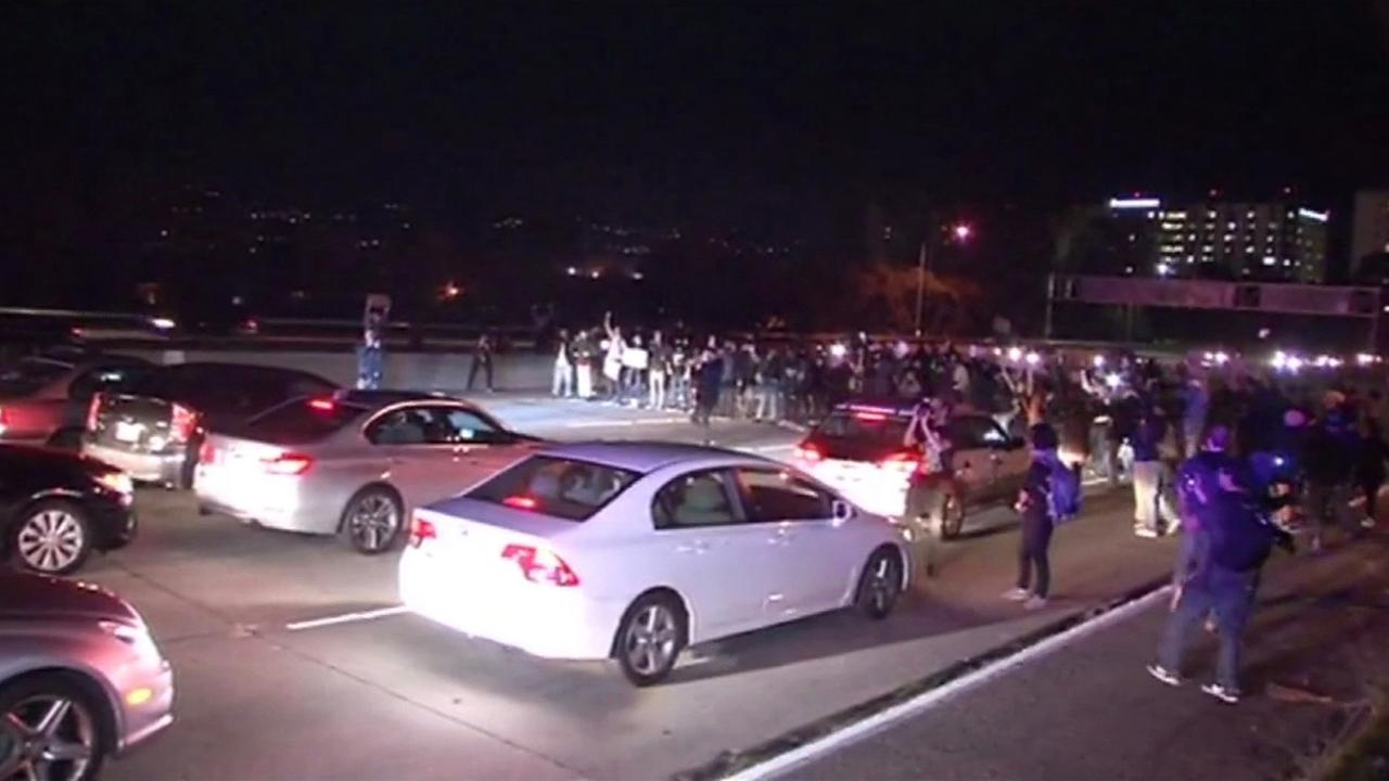Freeway blocked by protesters in Oakland on Tuesday night.