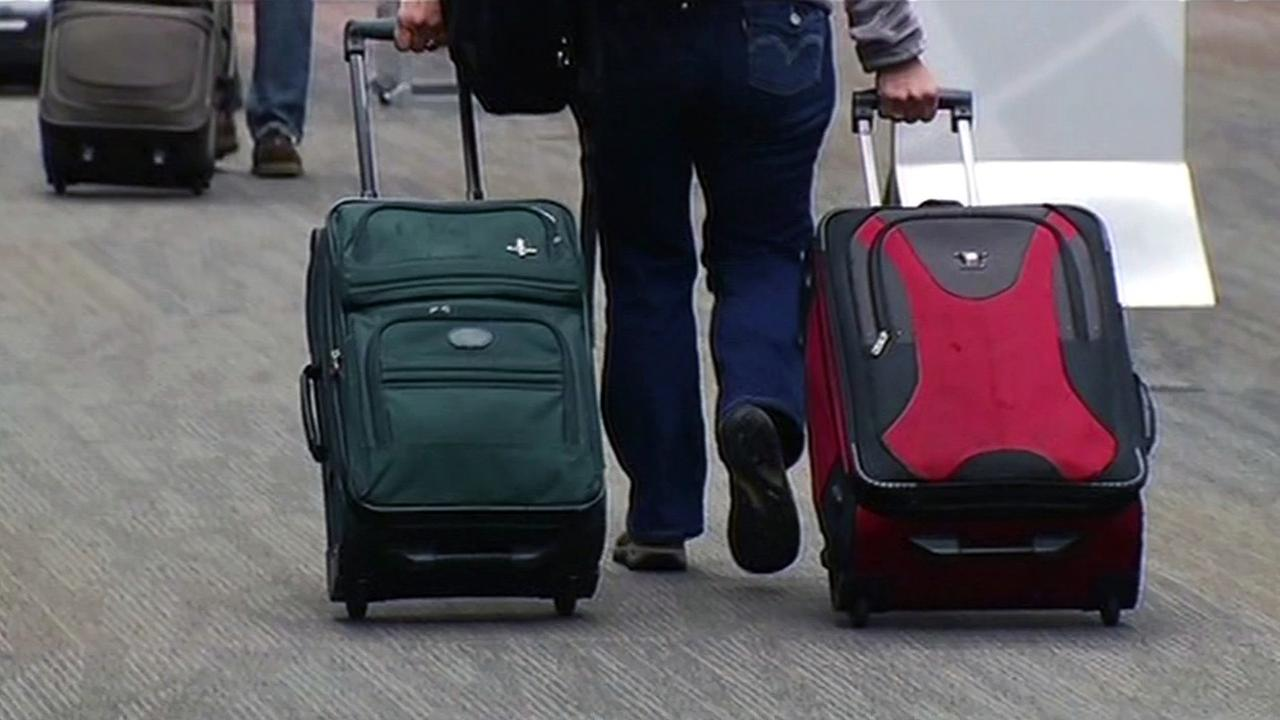 Man with bags at San Francisco International Airport.