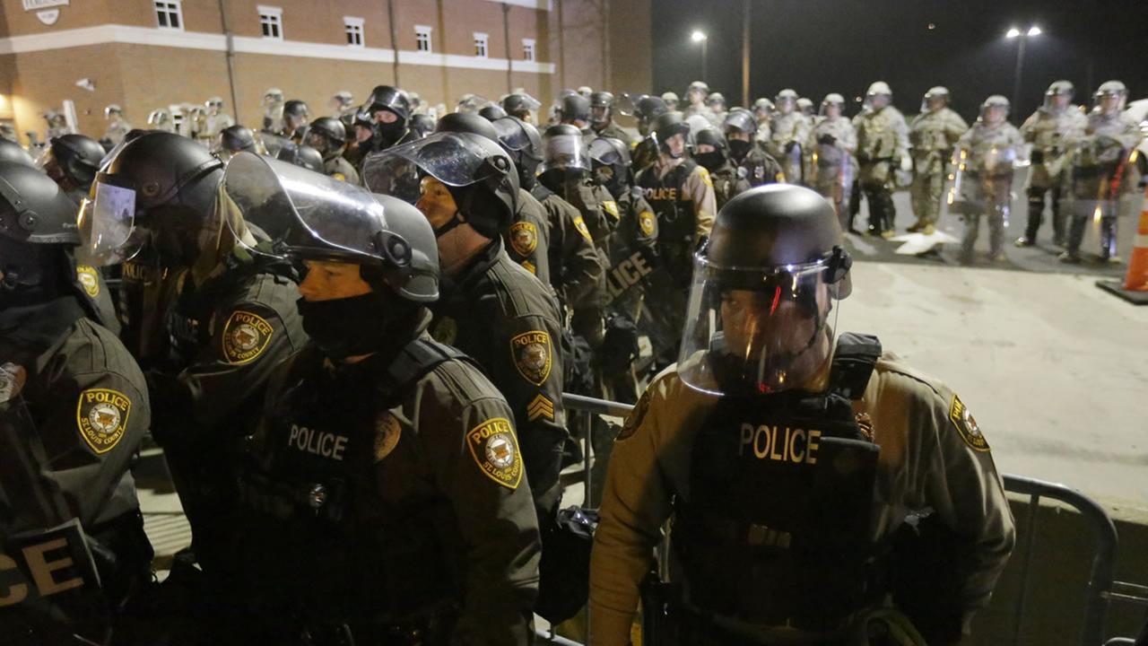 Ferguson police in a line
