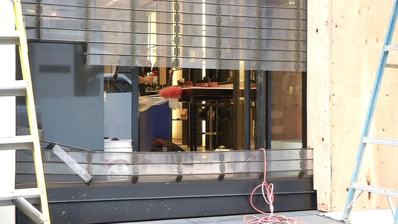 damaged storefront