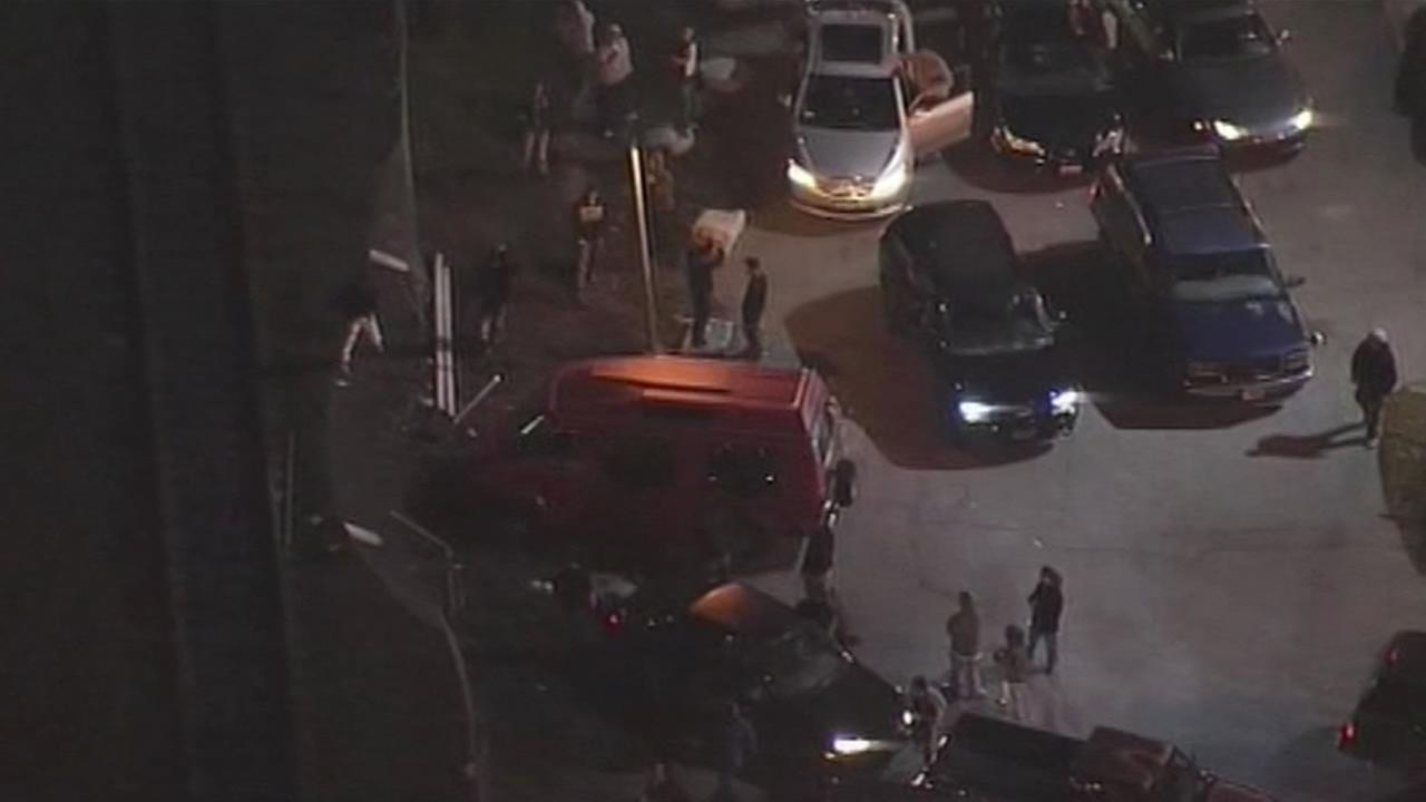 Dozens of cars and hundreds of people were involved in a sideshow at the Port of Oakland.