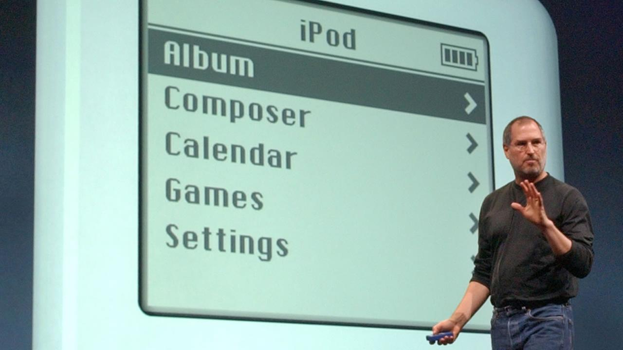 Steve Jobs gestures as he introduces the new iPod during Apples launch of their new online Music Store in San Francisco, Monday, April 28, 2003. (AP Photo)