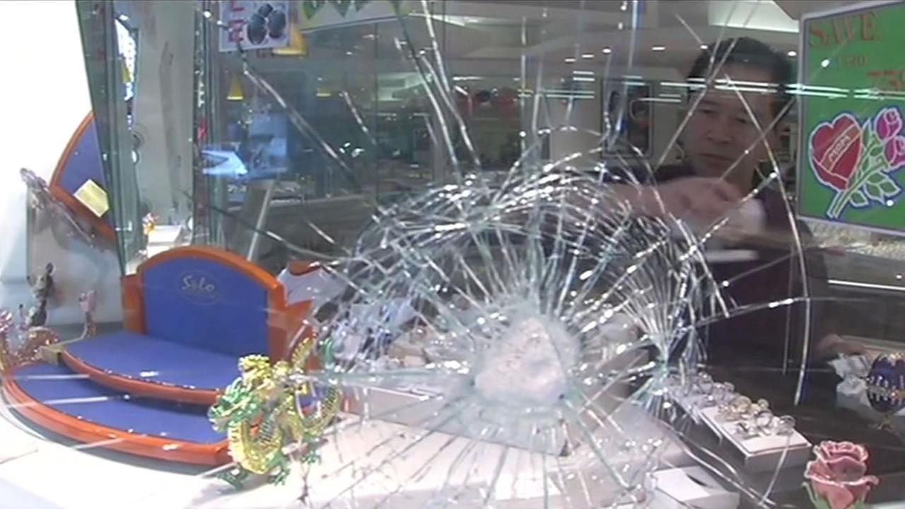 broken window of a business