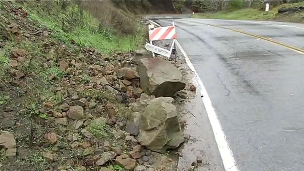 rockslide on roadway