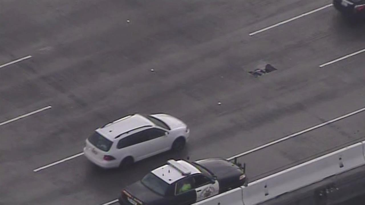 A pothole developed during the wet Wednesday morning commute on the Bay Bridge.