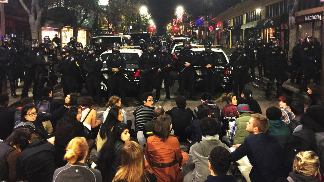 This photo provided by Gabriel Reyes shows the protest in Berkeley, Calif., Sunday, Dec. 7. 2014.