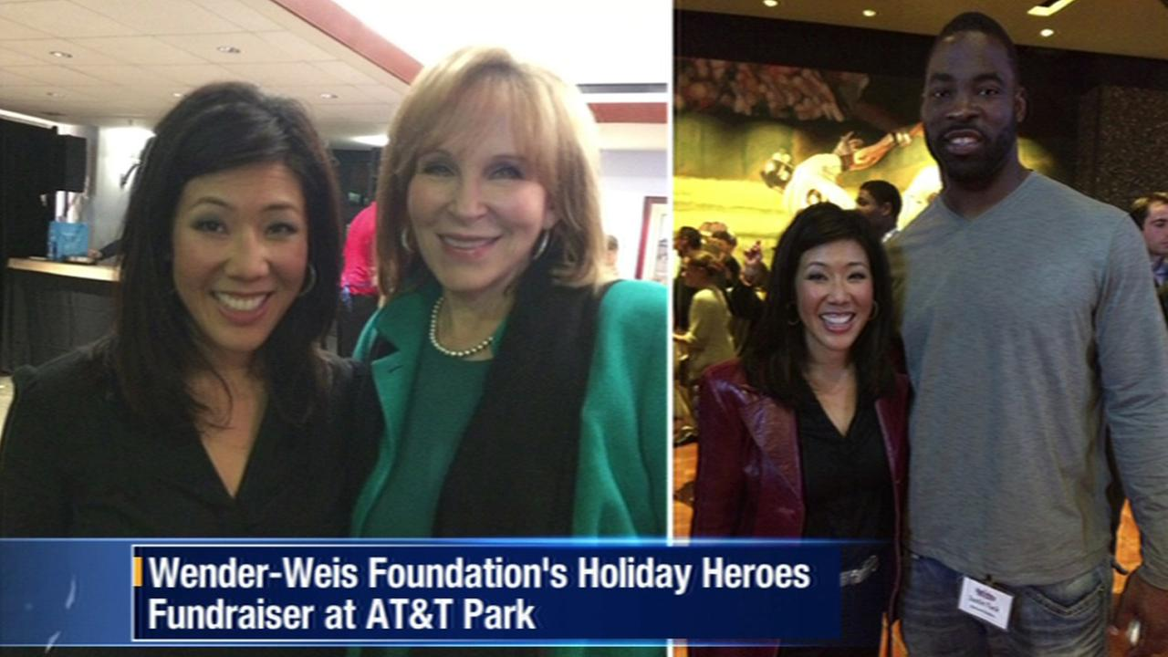 ABC7s Kristen Sze, Cheryl Jennings and Raiders defensive end Justin Tuck