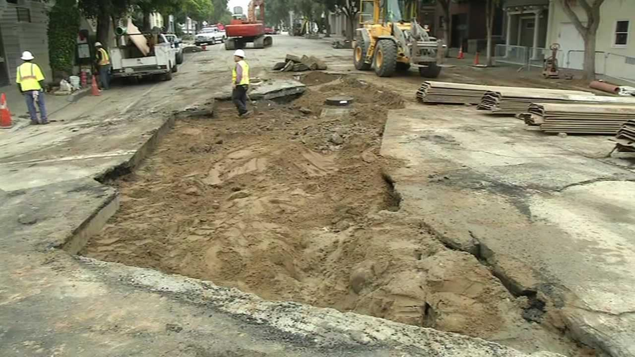 Crews finished filling in a huge sinkhole that opened on Lake Street and Sixth Avenue in a San Francisco during last weeks storm.