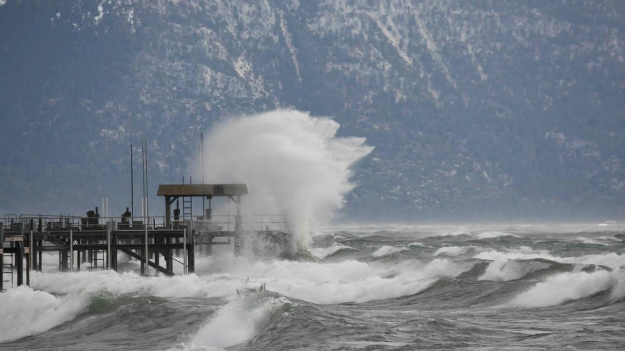 A strong storm system created perfect conditions for surfing at Lake Tahoe on Thursday, Dec. 11, 2014. (Courtesy Placer County Sheriffs Office)