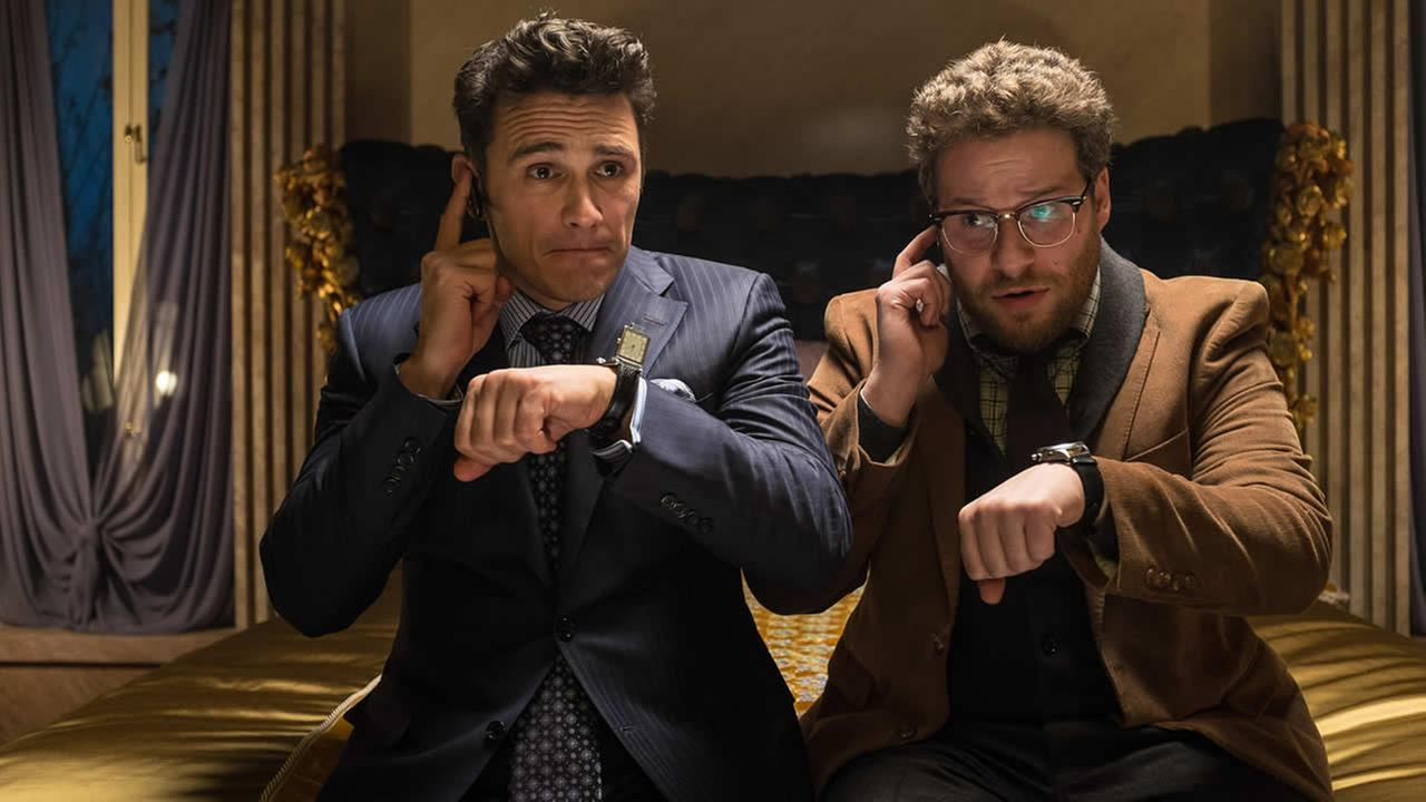 This image released by Columbia Pictures shows James Franco, left, and Seth Rogen in The Interview. The comedy is set for release in 2014 on Christmas Day. (AP Photo/Columbia Pictures, Sony, Ed Araquel)