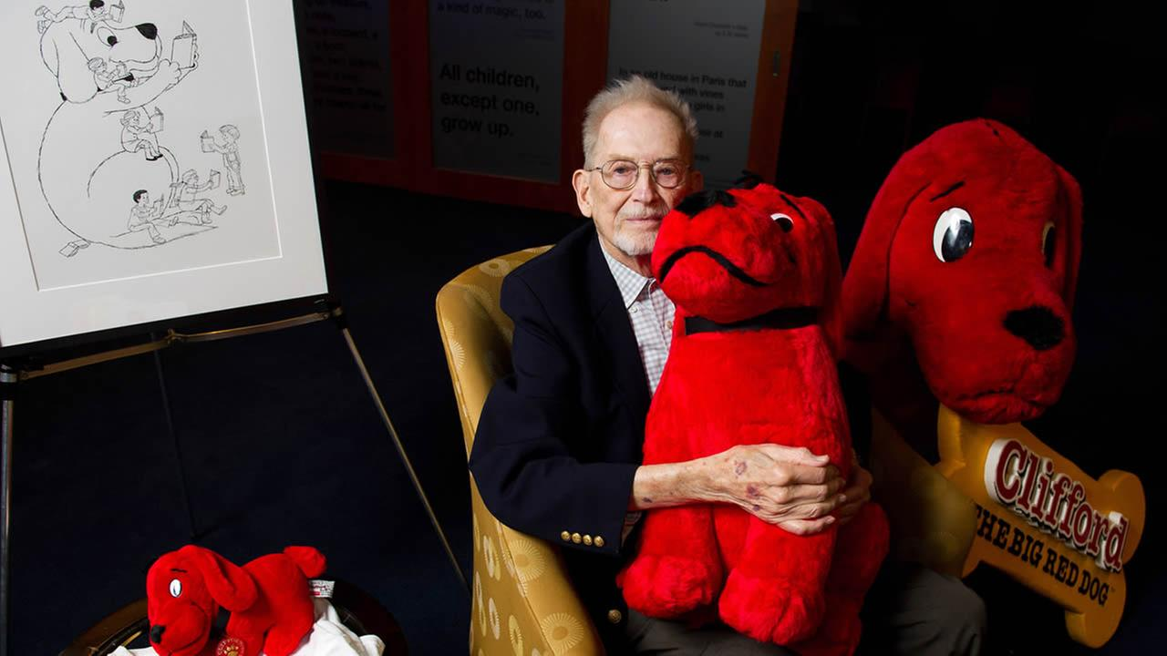 Author and cartoonist Norman Bridwell, creator of Clifford the Big Red Dog, poses for a portrait at Scholastic headquarters in New York, May 4, 2011. (AP Photo/Charles Sykes)