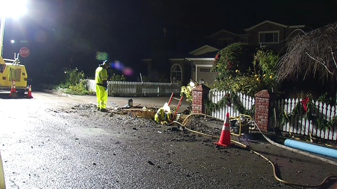 Water main break in Menlo Park.