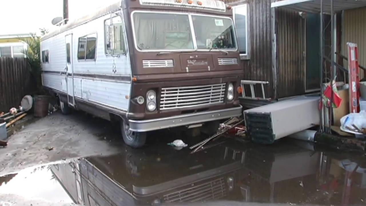Mobile home park in Belmont floods during heavy rain, Dec. 2014.
