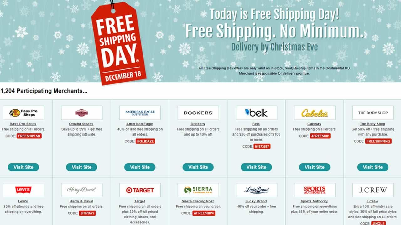 More than 1,000 retailers are taking part in Free Shipping Day.
