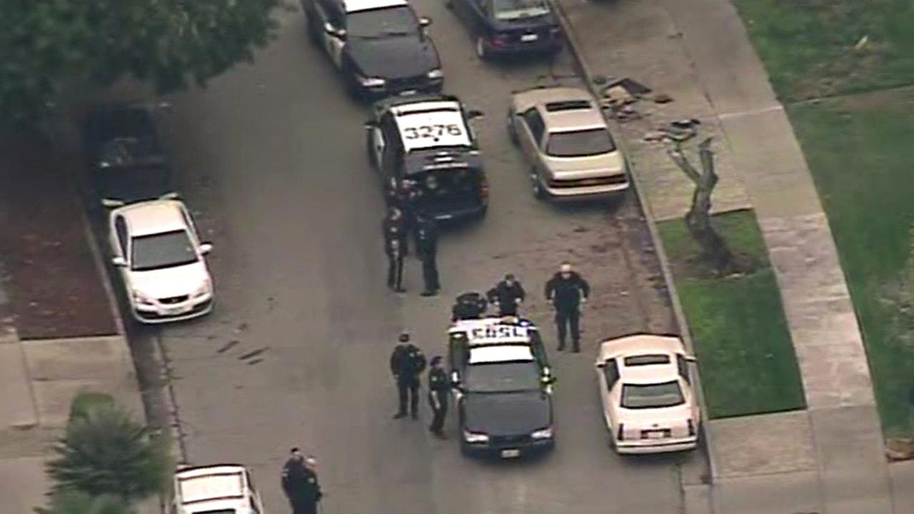 San Jose police search neighborhood for shooting suspect.