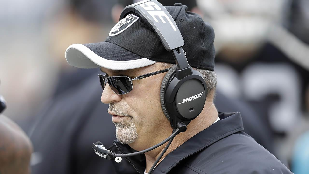 Oakland Raiders interim head coach Tony Sparano stands on the sideline during a game against the San Francisco 49ers in Oakland, Calif., Dec. 7, 2014. (AP Photo/Ben Margot)
