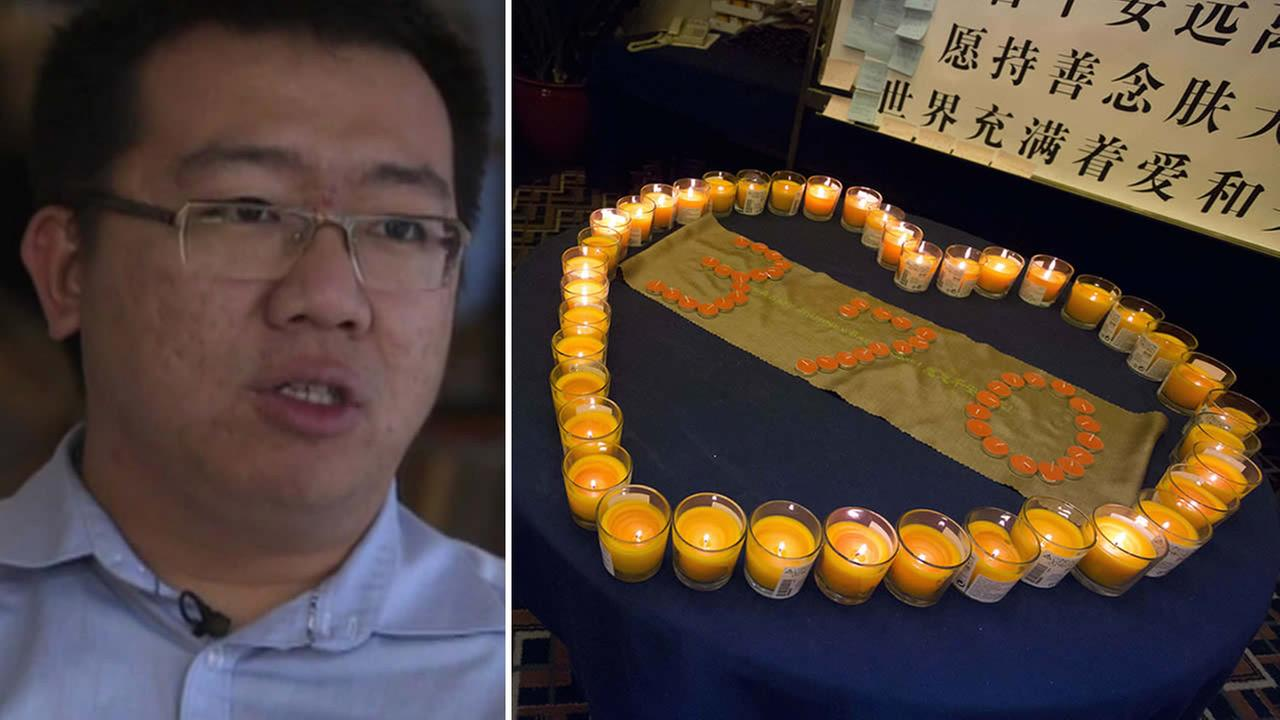 From left to right: Steve Wang talks about his mother, who was on MH370, and candles are seen in a prayer room in Beijing, China.