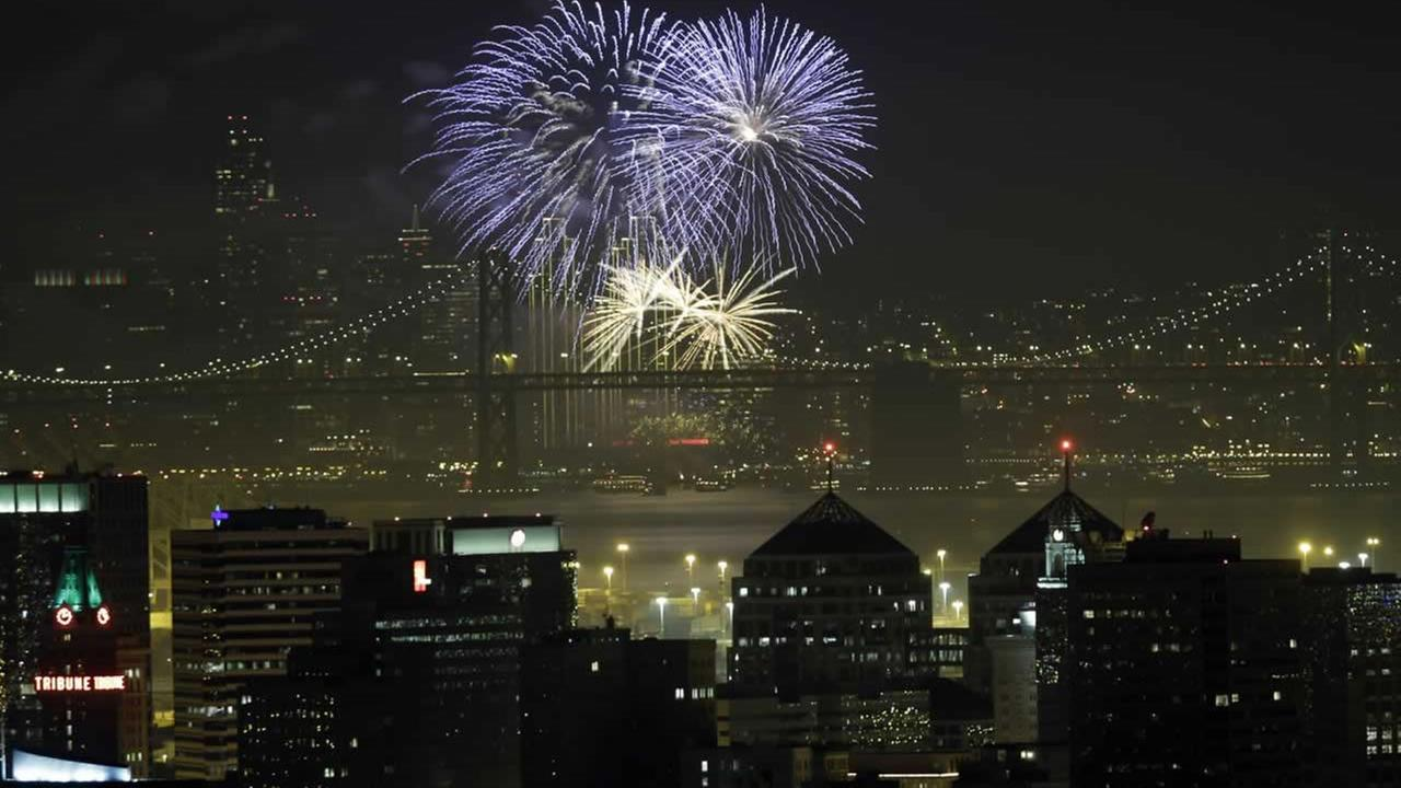 New Years Eve fireworks over San Francisco Bay.