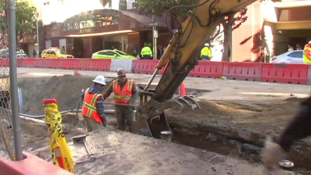 crews work on Central Subway Project in San Francisco