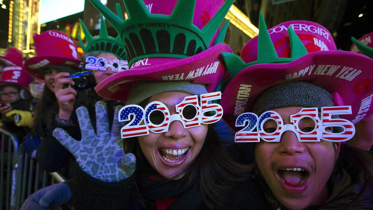 Revelers cheer in Times Square