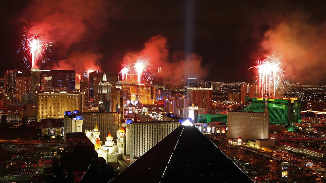 Fireworks explode above the Strip in Las VegasAP Photo/John Locher