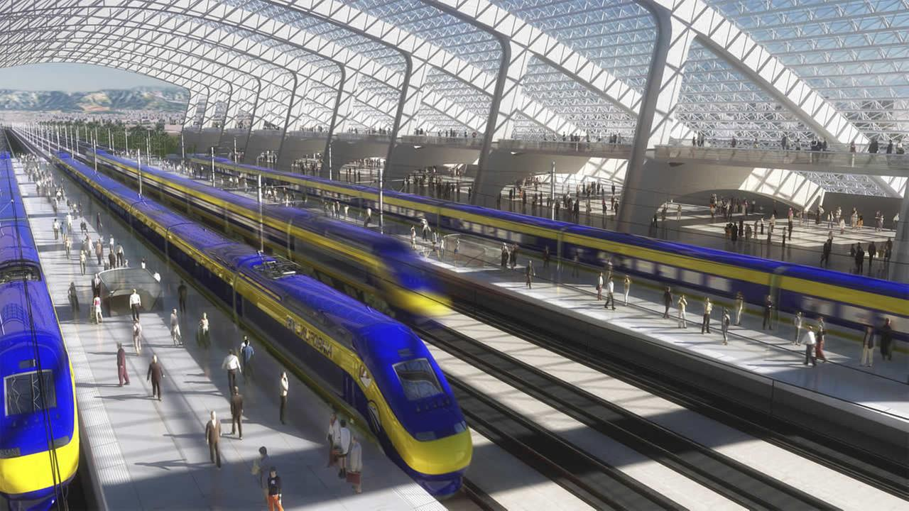 FILE - This image provided by the California High Speed Rail Authority shows an artists rendering of a high-speed train station. (AP Photo/California High Speed Rail Authority, File)