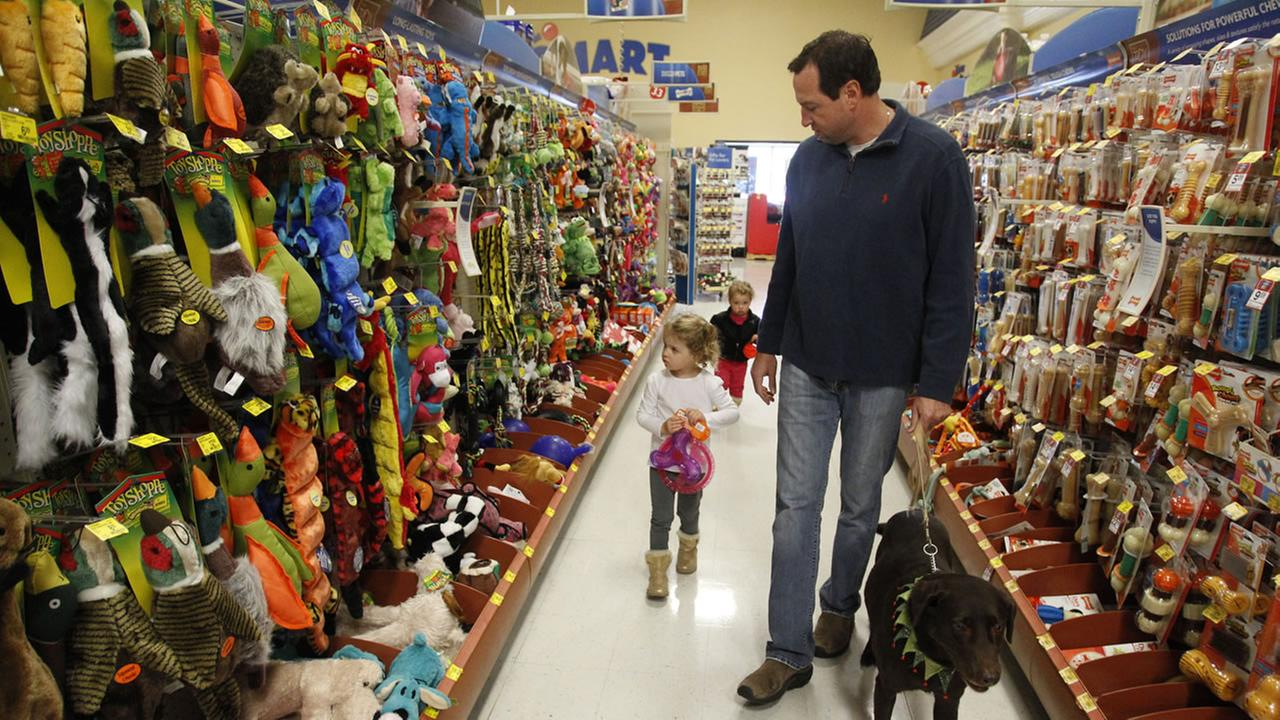 A family shops for new pet toys.