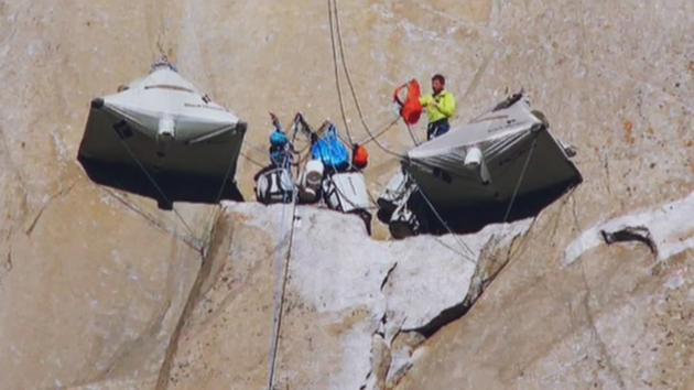 Kevin Jorgeson of Santa Rosa and Tommy Caldwell of Colorado sleep in sling tents suspended to & 2 climbers close to making history at El Capitan in Yosemite ...