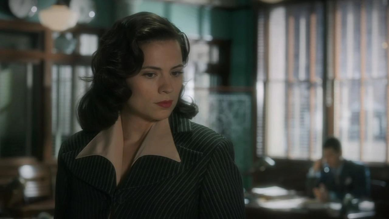 Hayley Atwell, who plays Peggy Carter, is shown in a scene from Marvels Agent Carter.