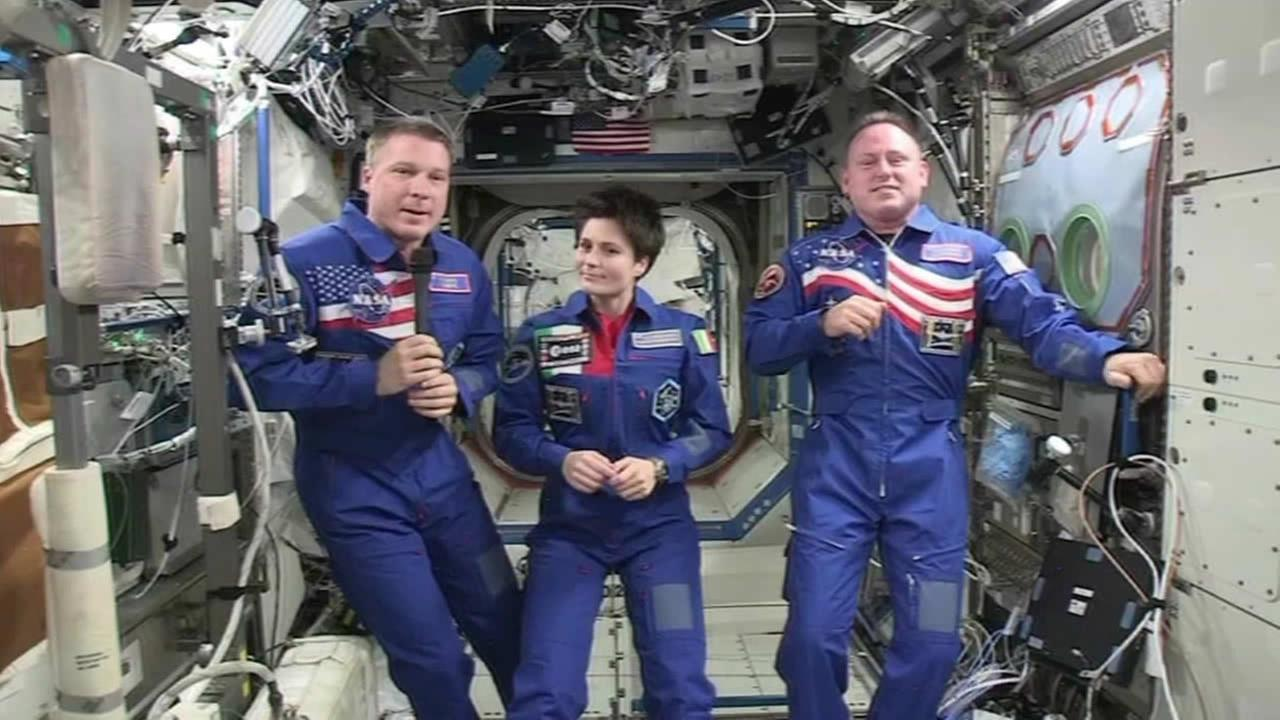 Commander Barry Butch Wilmore, Terry Virts, and Samantha Cristoforettiis aboard the International Space Station on Tuesday, Jan. 6, 2015.