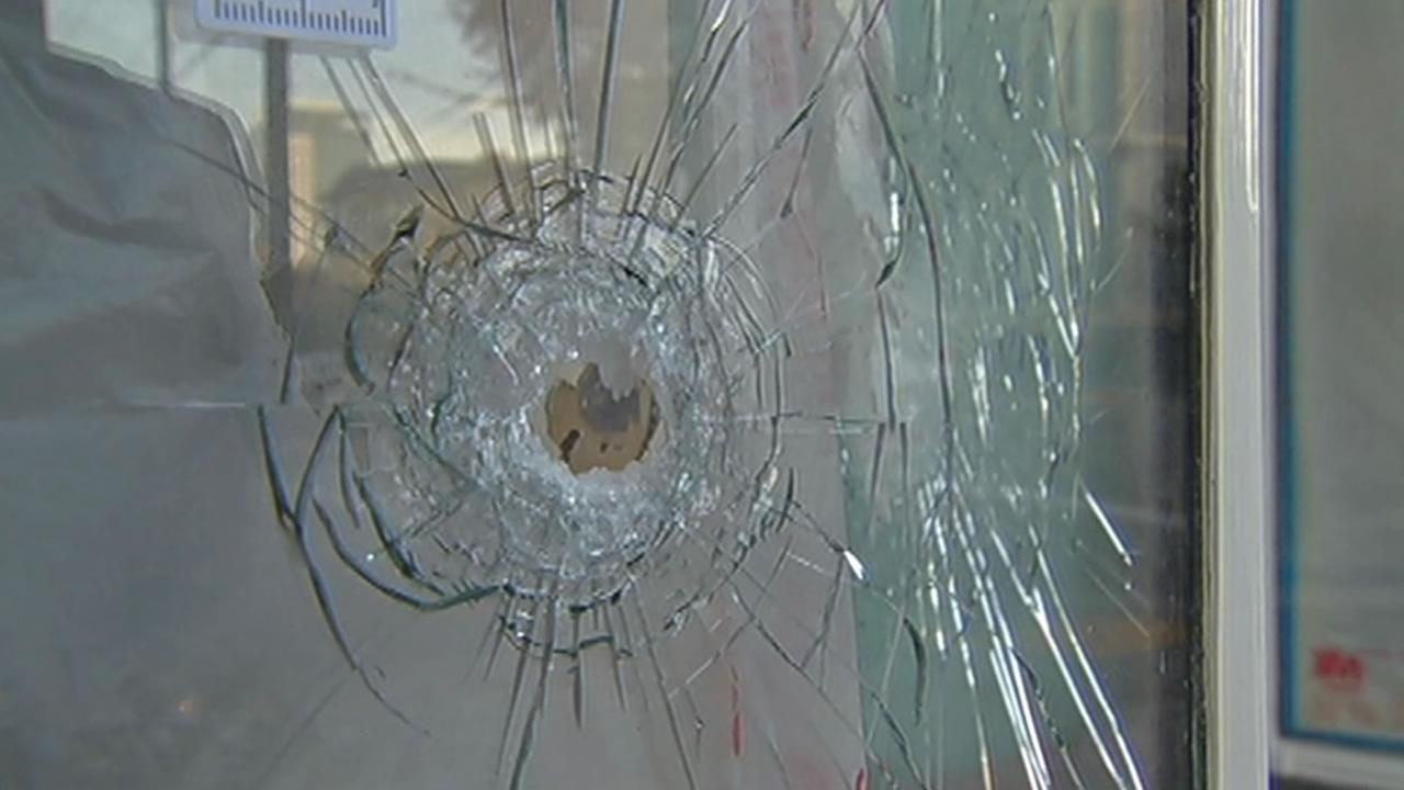 A bullet hole from a quadruple homicide is seen in San Franciscos Hayes Valley neighborhood, Jan. 10, 2015.