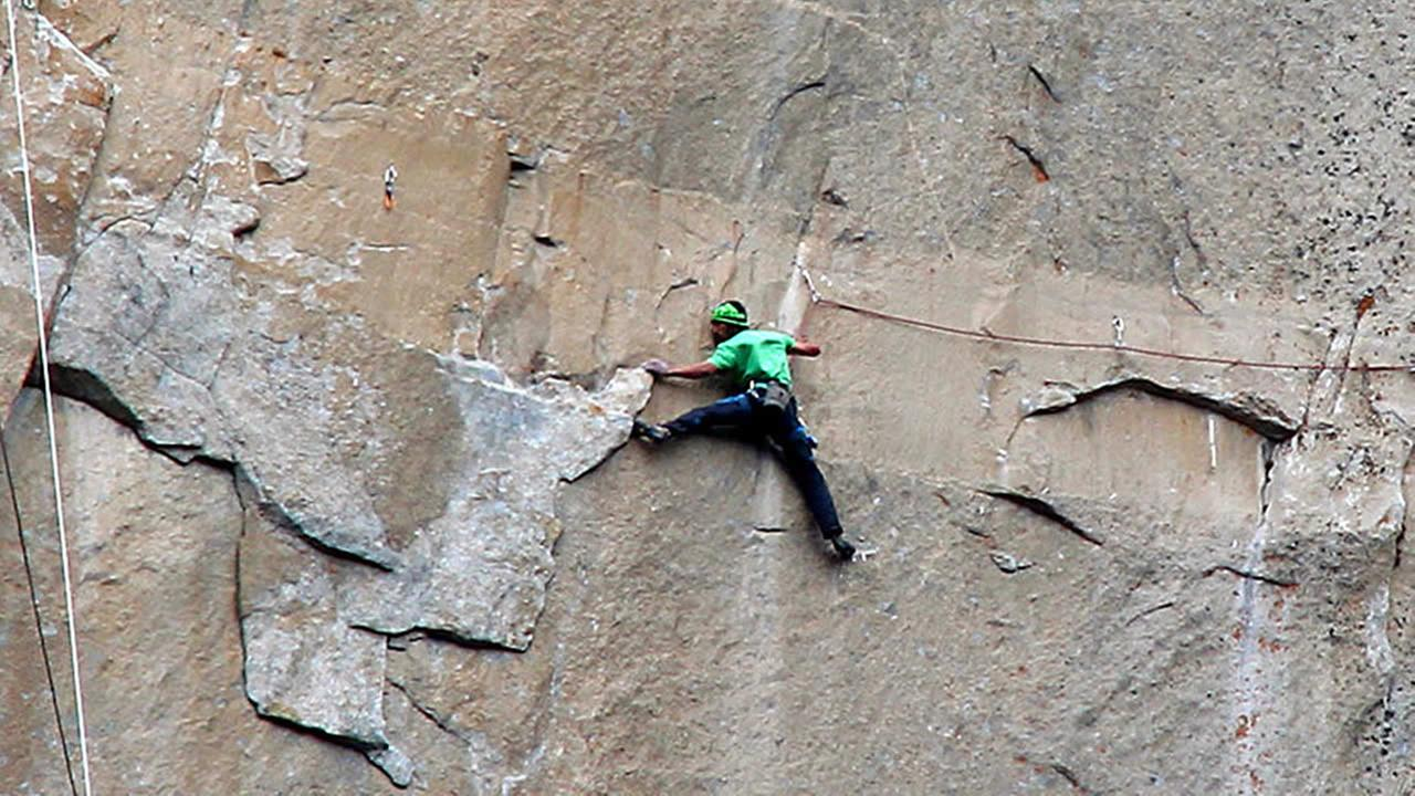 In this Jan. 9, 2015 photo, Kevin Jorgeson climbs on what is known as pitch 15 during what has been called the hardest rock climb in the world: a free climb of El Capitan. (AP Phot