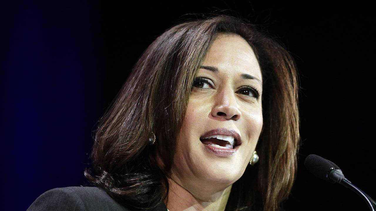 California Attorney General Kamala Harris speaks during a general session at the California Democrats State Convention in Los Angeles. Barbara Boxer announced Thursday.