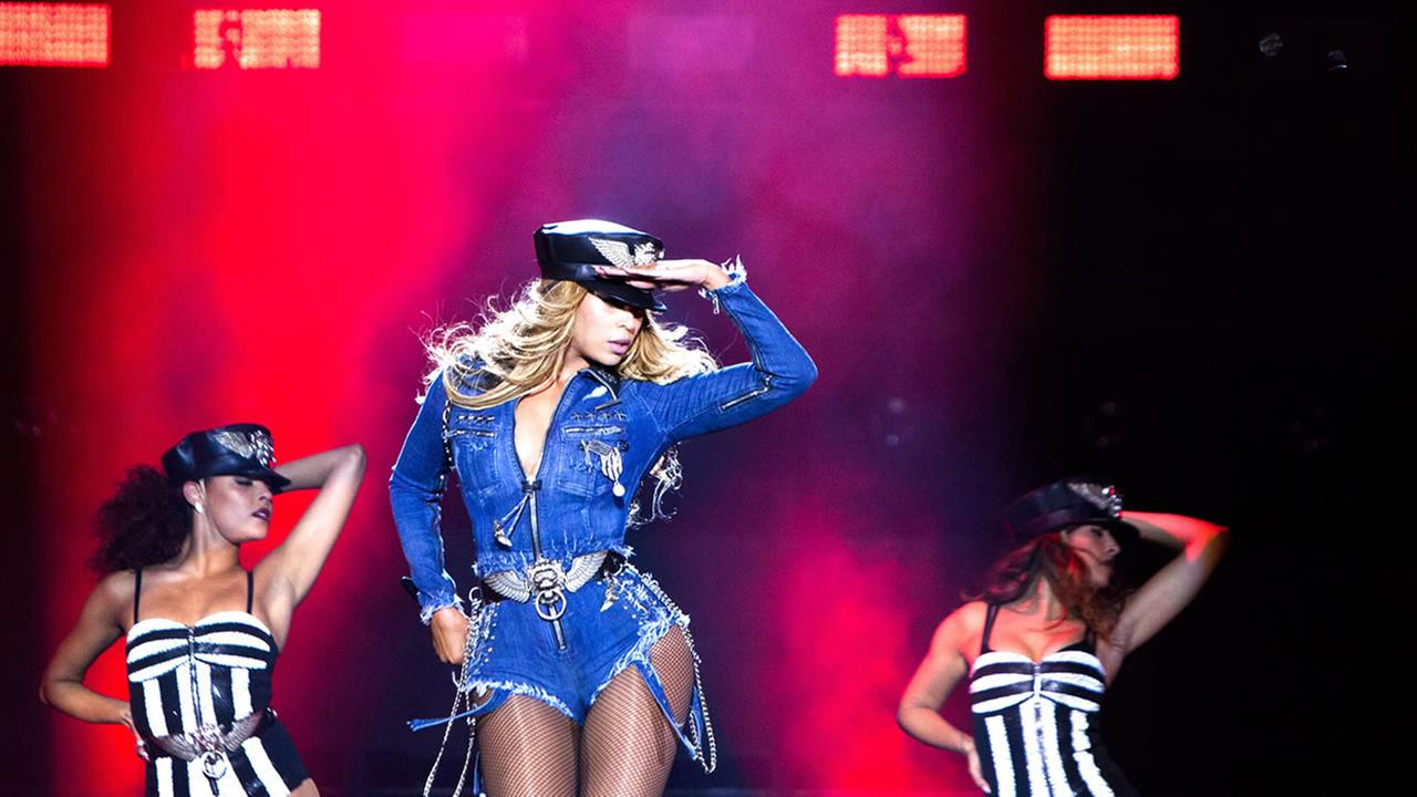 Beyonce performs during the Beyonce and Jay Z - On the Run tour on Friday, Sept. 13, 2014, in Paris, France. (Photo by Rob Hoffman/Invision for Parkwood Entertainment/AP Images)