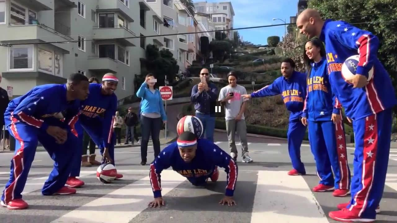 The Harlem Globetrotters held an unusual practice on San Franciscos Lombard Street, Jan. 2015.