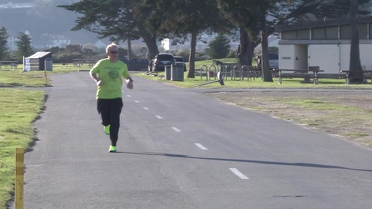 Tim Durbin running near the Marina Green