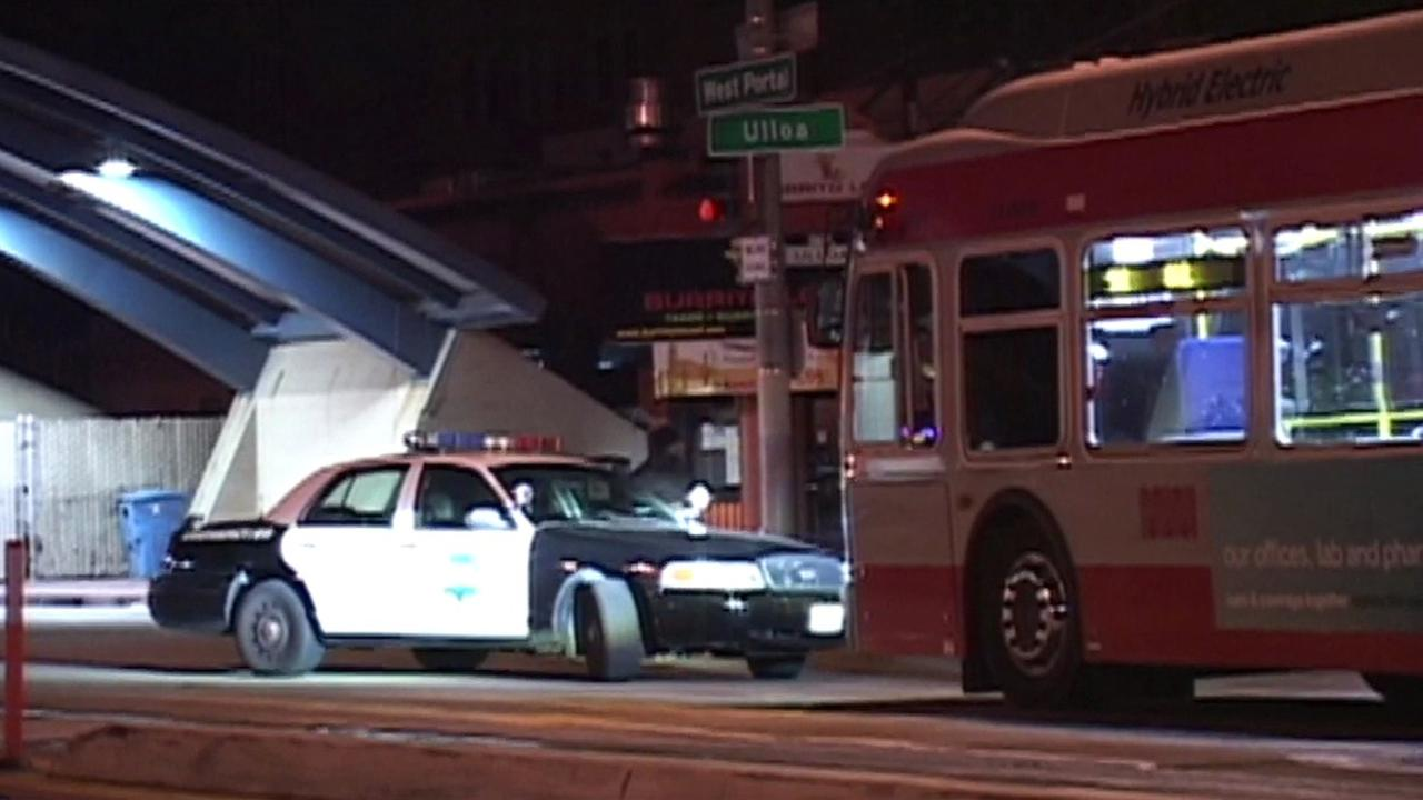 San Francisco police at stabbing scene on Muni bus.