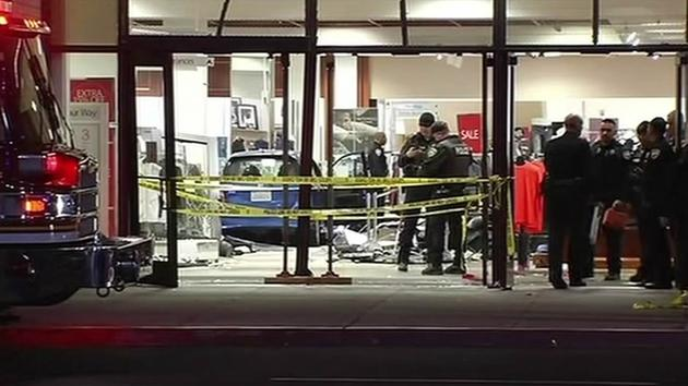 Six people were injured after a car jumped a curb and drove 50-feet inside a Macy's department store in Newark on Jan. 14, 2015.