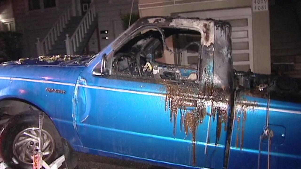 blue truck burned in San Francisco