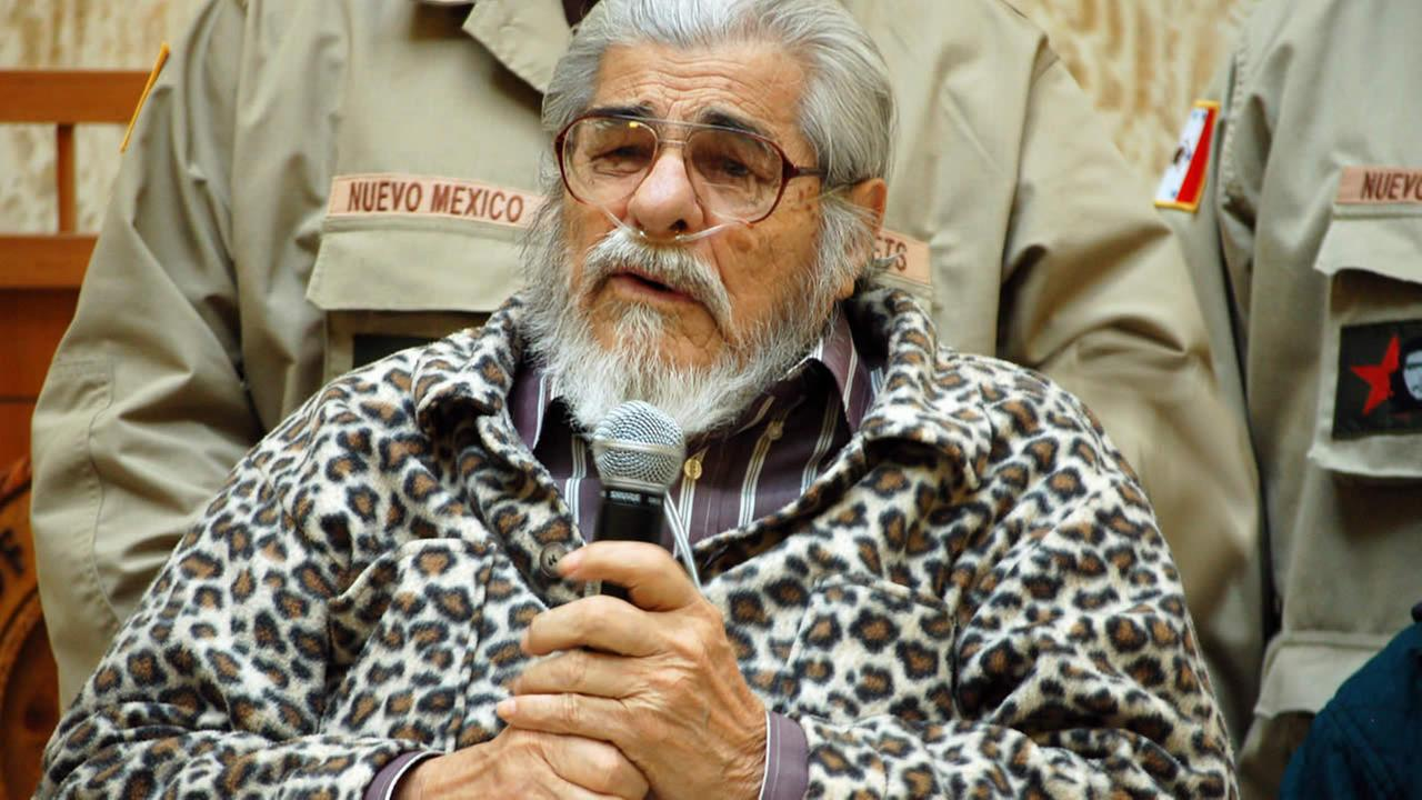 In this Feb. 2, 2012 file photo, Chicano Movement leader Tijerina, appears at an event honoring the anniversary of the signing of the Treaty of Guadalupe Hidalgo.(AP Photo)
