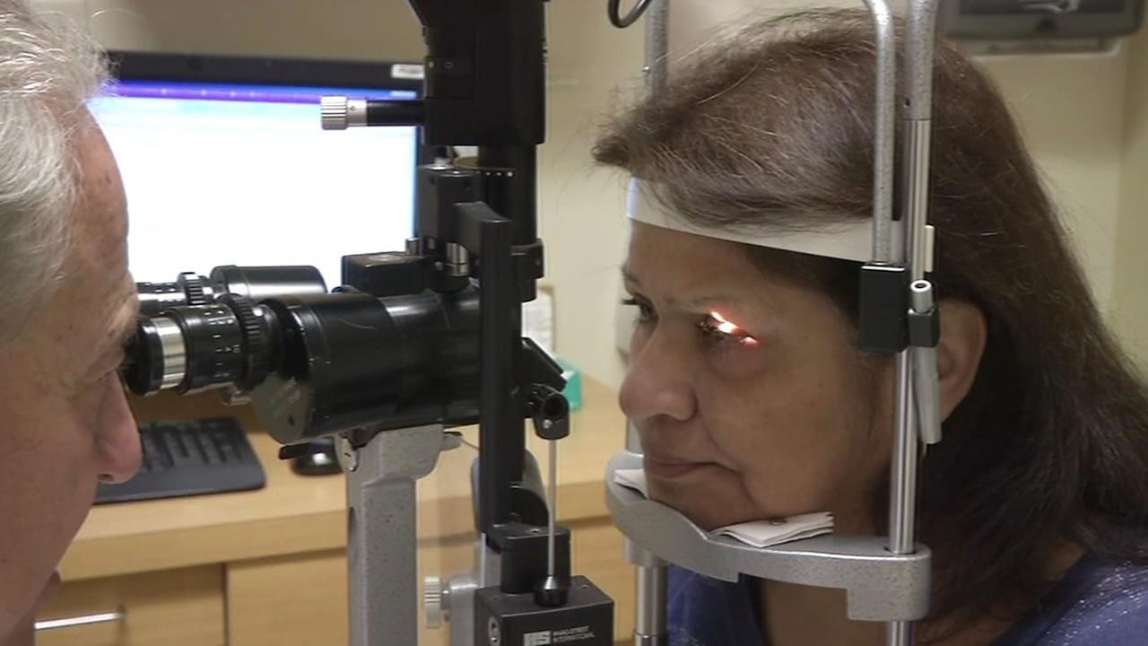 measuring pressure of glaucoma