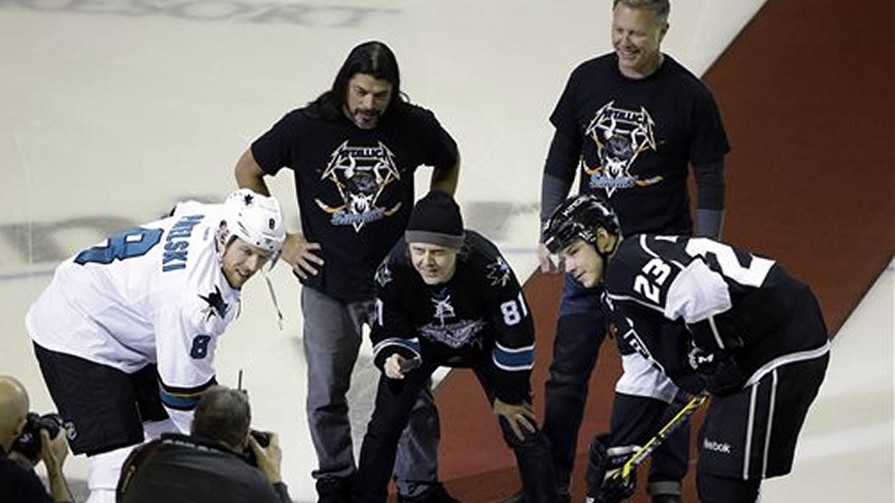 Metallica drops the games ceremonial first puck at the start of the San Jose Sharks game