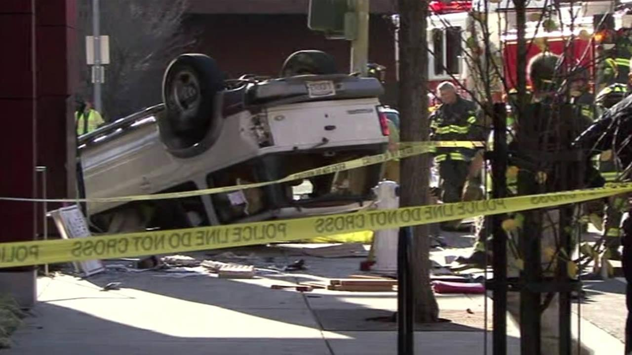 A vehicle overturned onto a pedestrian in downtown Santa Rosa on Jan. 20, 2015.