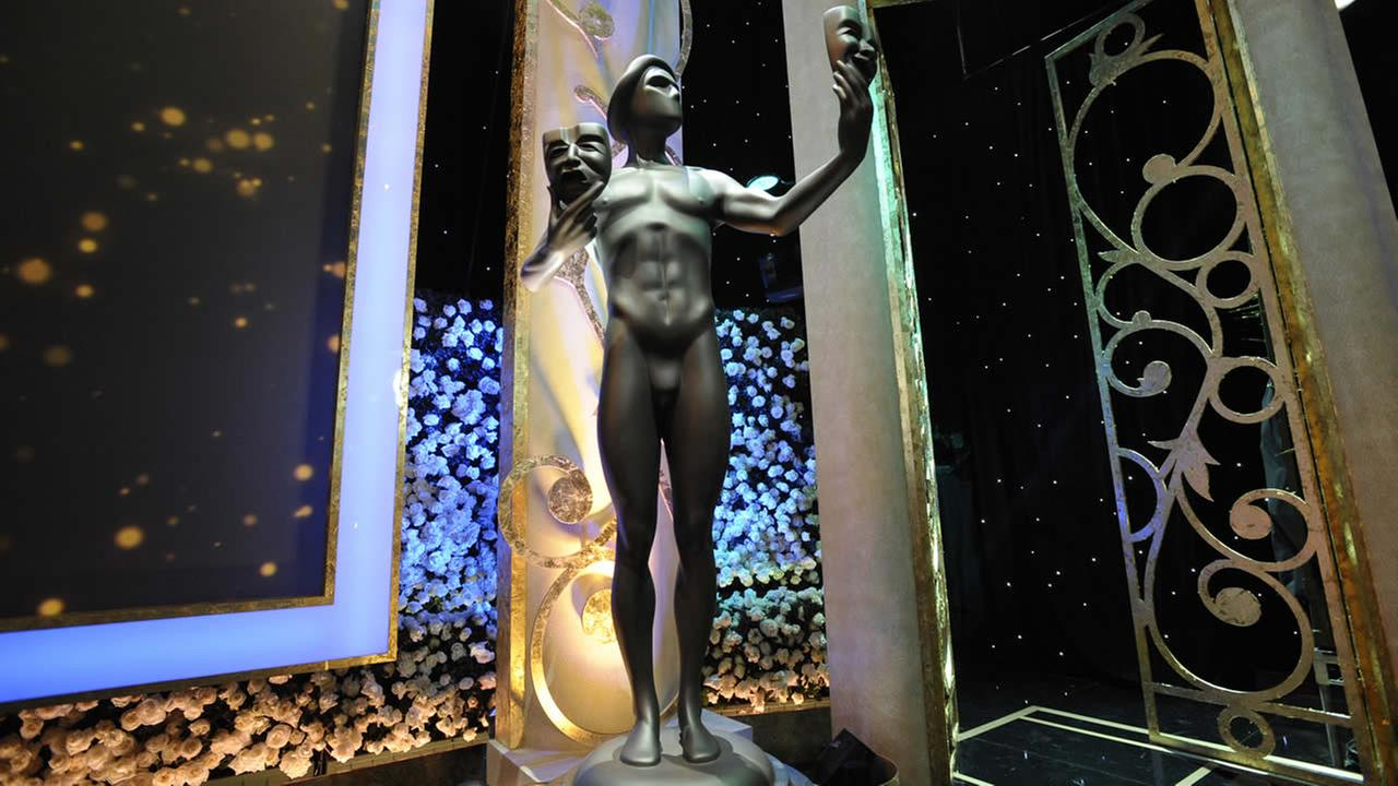 Preparations for the 21st Annual Screen Actors Guild Awards at the Shrine Exposition Center on Saturday, Jan. 24, 2015, in Los Angeles. (Photo by Ron Wolfson/Invision/AP)