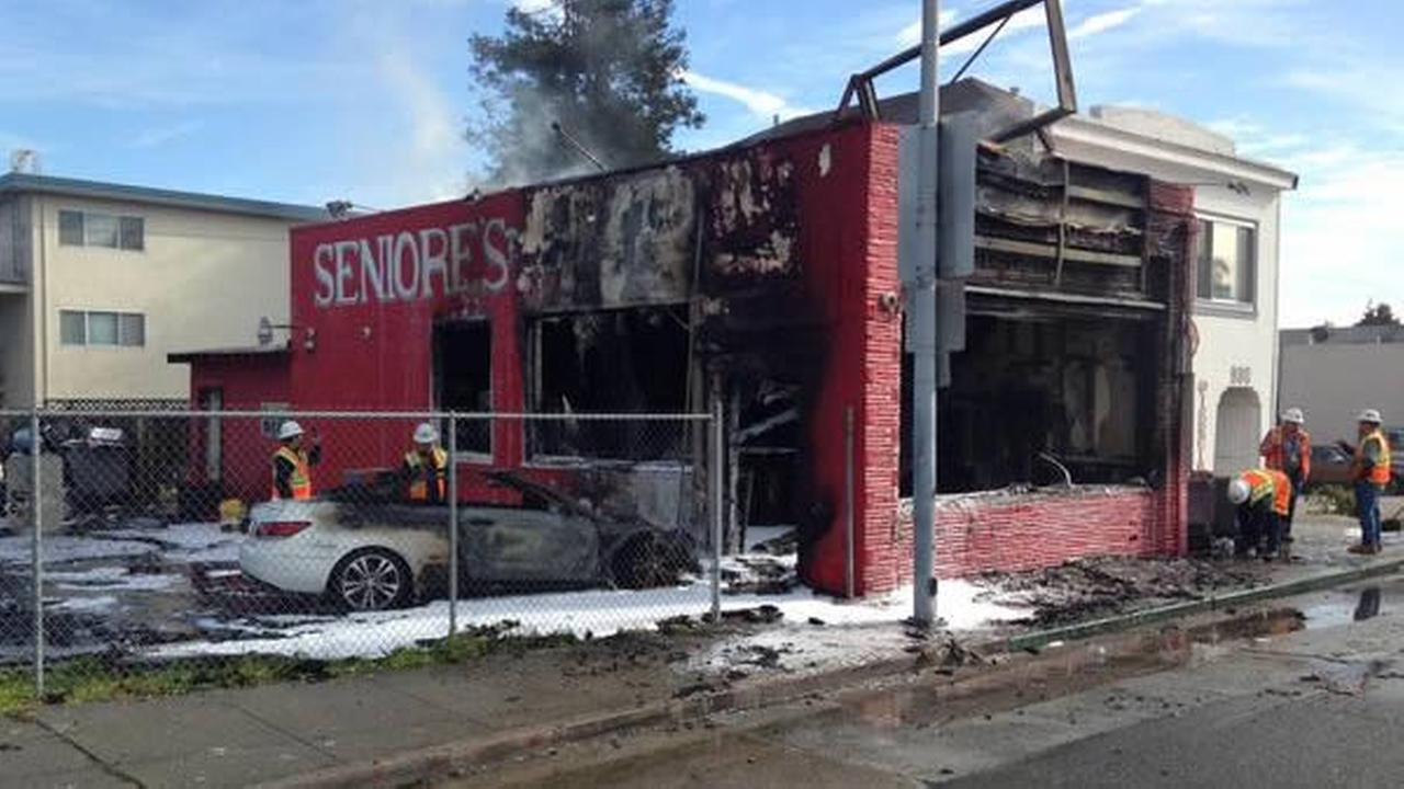 A car crashed into Seniores Pizza in San Bruno, Calif. on Jan. 26, 2015.
