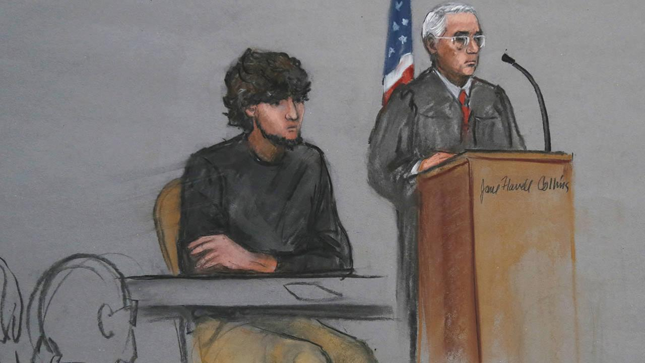 In this Monday, Jan. 5, 2015, file courtroom sketch, Boston Marathon bombing suspect Dzhokhar Tsarnaev, left, is depicted beside U.S. District Judge George OToole Jr., in Boston.  (AP Photo/Jane Flavell Collins, File)