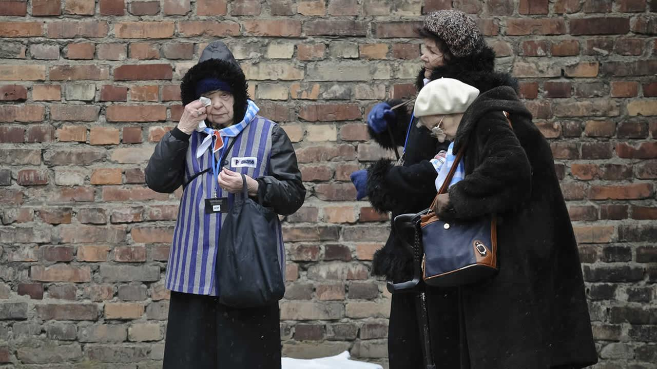 A Holocaust survivor wipes her eye while standing along with others outside a detention block of the Auschwitz Nazi death camp in Oswiecim, Poland, Tuesday, Jan. 27, 2015. (AP Photo/Alik Keplicz)AP Photo/Alik Keplicz