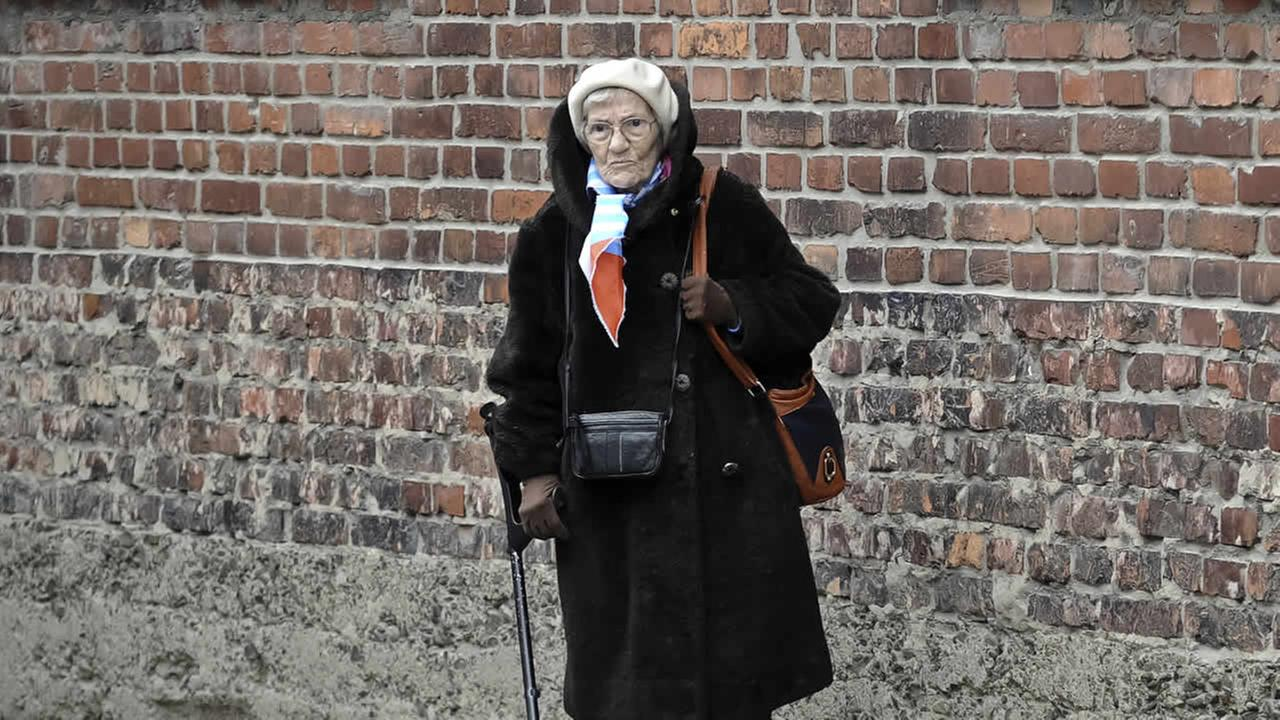 A Holocaust survivor stands outside a detention block of the Auschwitz Nazi death camp in Oswiecim, Poland, Tuesday, Jan. 27, 2015. (AP Photo/Alik Keplicz)