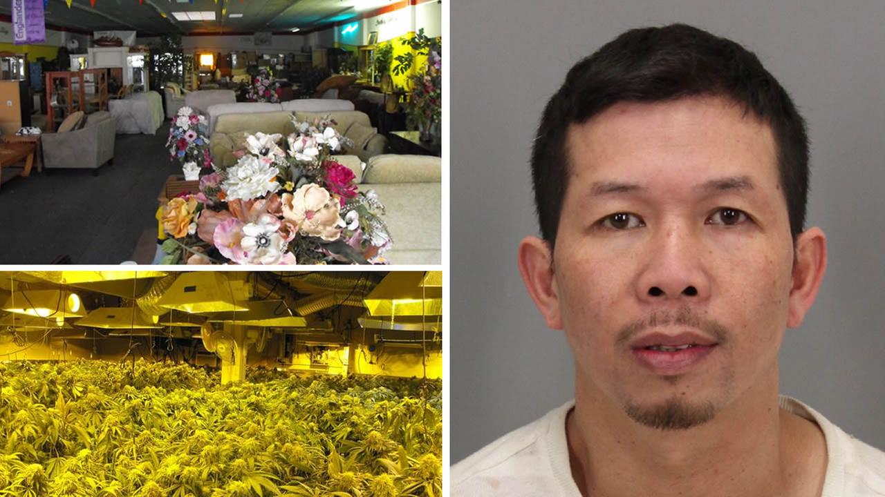 Phuc Nguyen, 39, of Gilroy, and pot plants